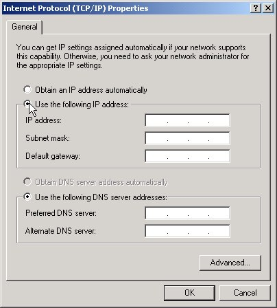 Use the following IP address dialog