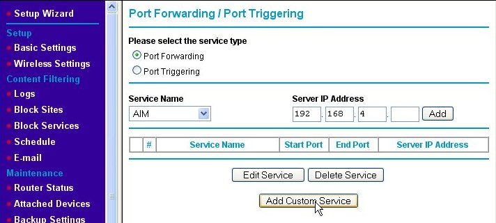 Port forwarding page