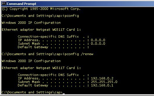 command prompt reset ip config