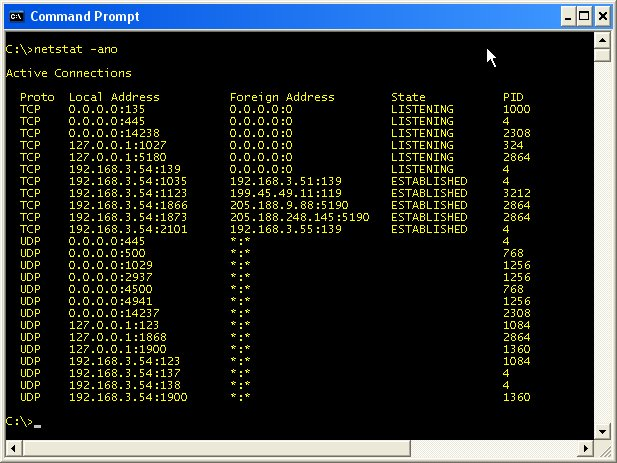 netstat command Hello guys, i have some questions, i am using win7 pro edition in my laptop, and  i have just used netstat command in command prompt in.